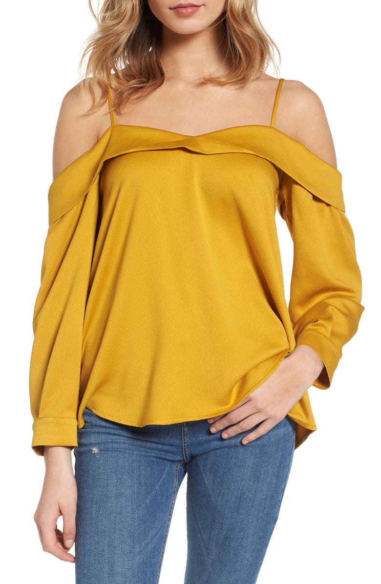 LEITH Satin Off the Shoulder Top, Main, color, 700