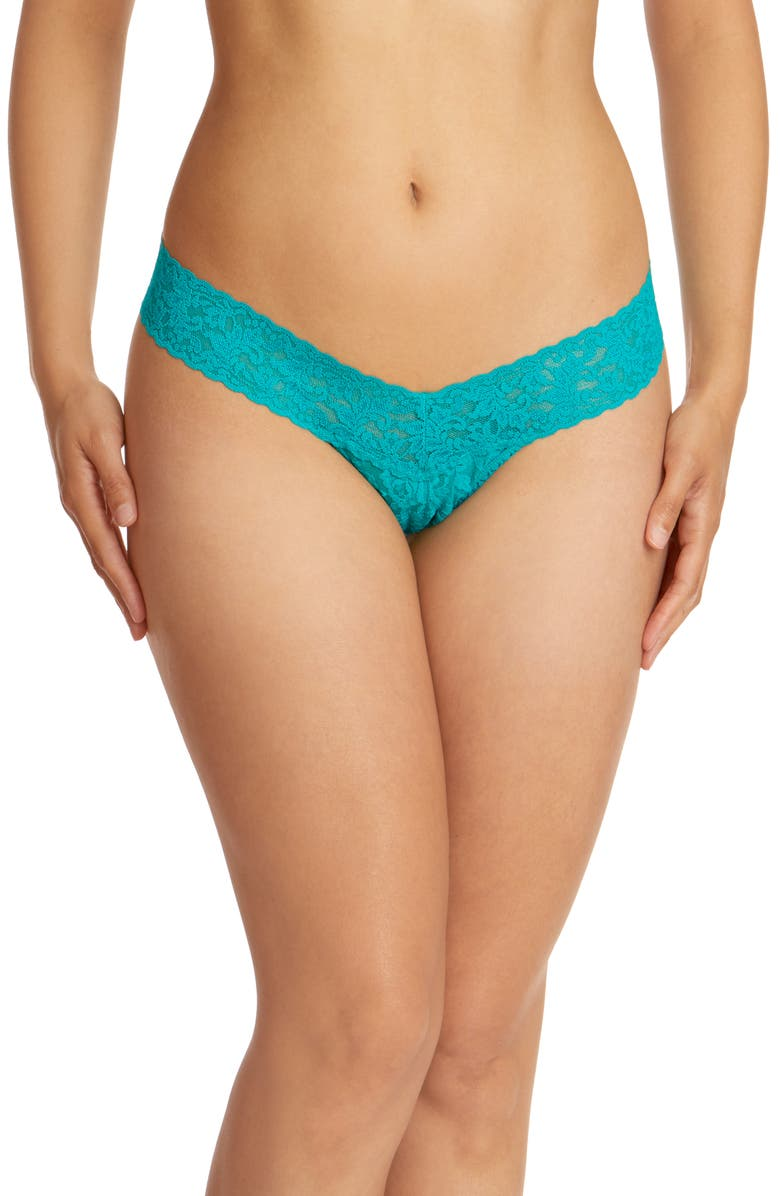HANKY PANKY Signature Lace Low Rise Thong, Main, color, VIBRANT TURQUOISE GREEN