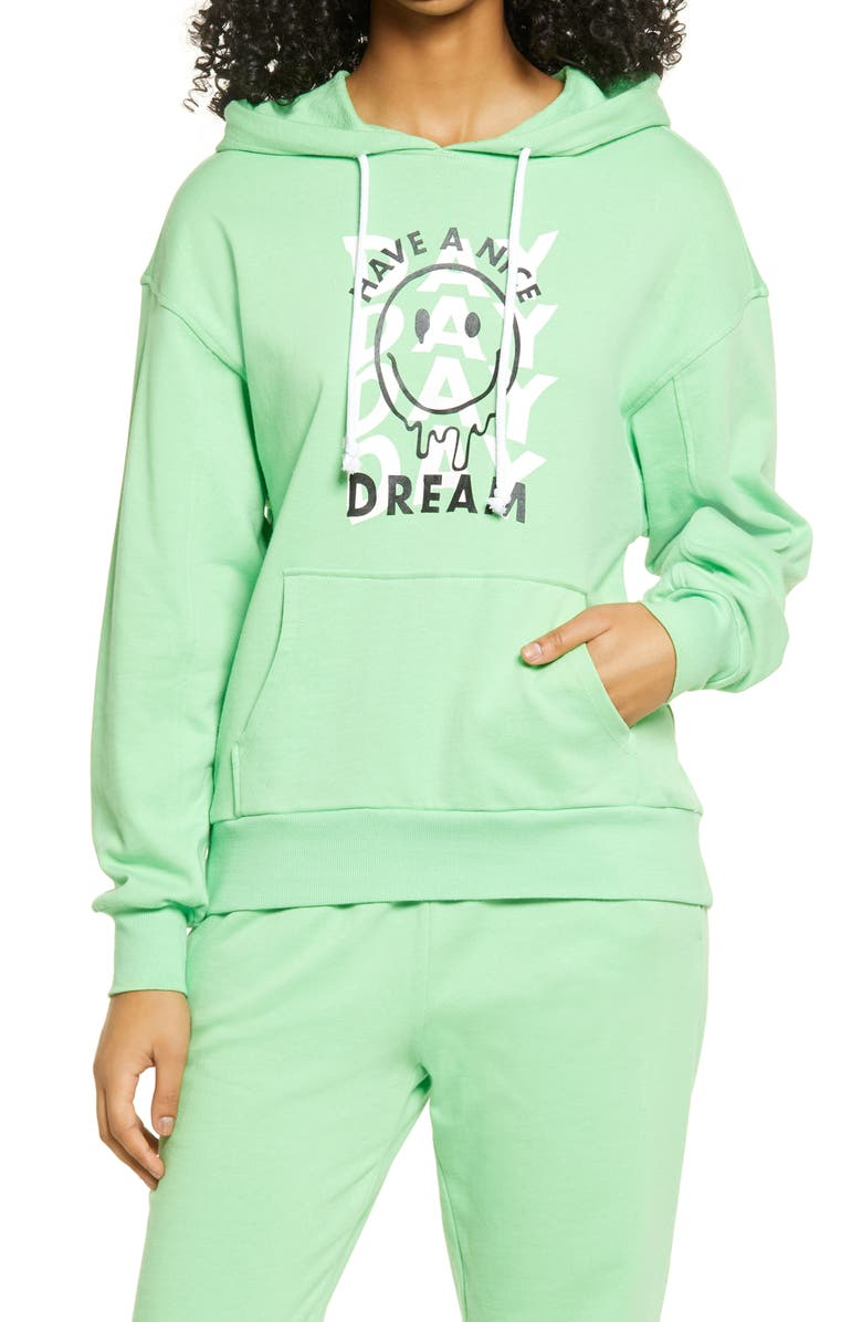 BP. Oversized Hooded Sweatshirt, Main, color, GREEN HAVE A NICE DREAM