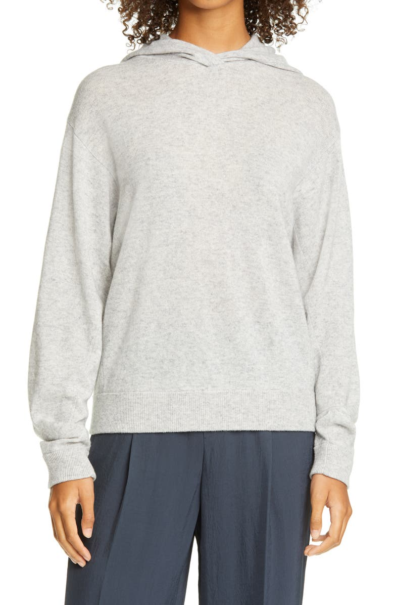 VINCE Wool & Cashmere Hoodie, Main, color, HEATHER GREY