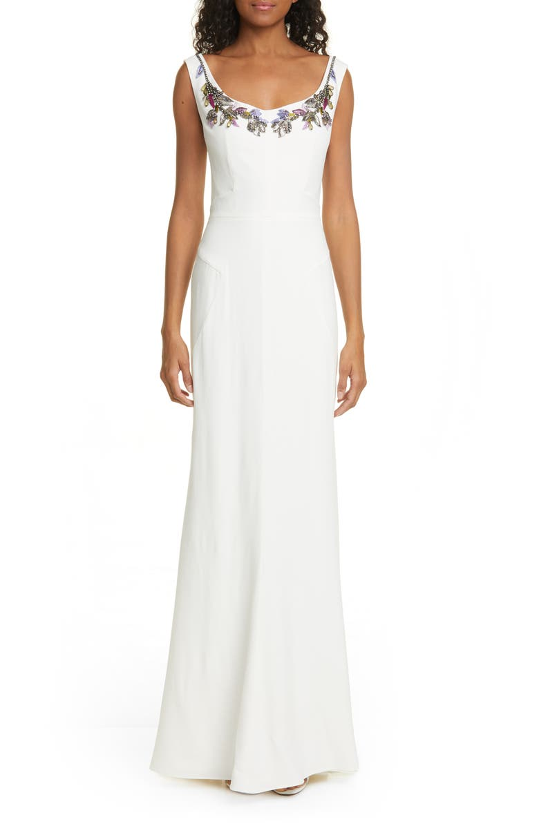ALEXANDER MCQUEEN Embellished Neck Crepe Sheath Gown, Main, color, 903