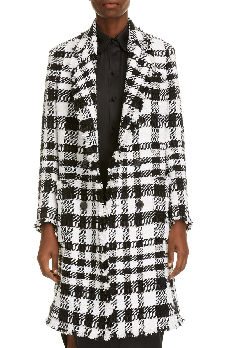 THOM BROWNE Fray Chenille Coat, Main, color, BLACK/ WHITE