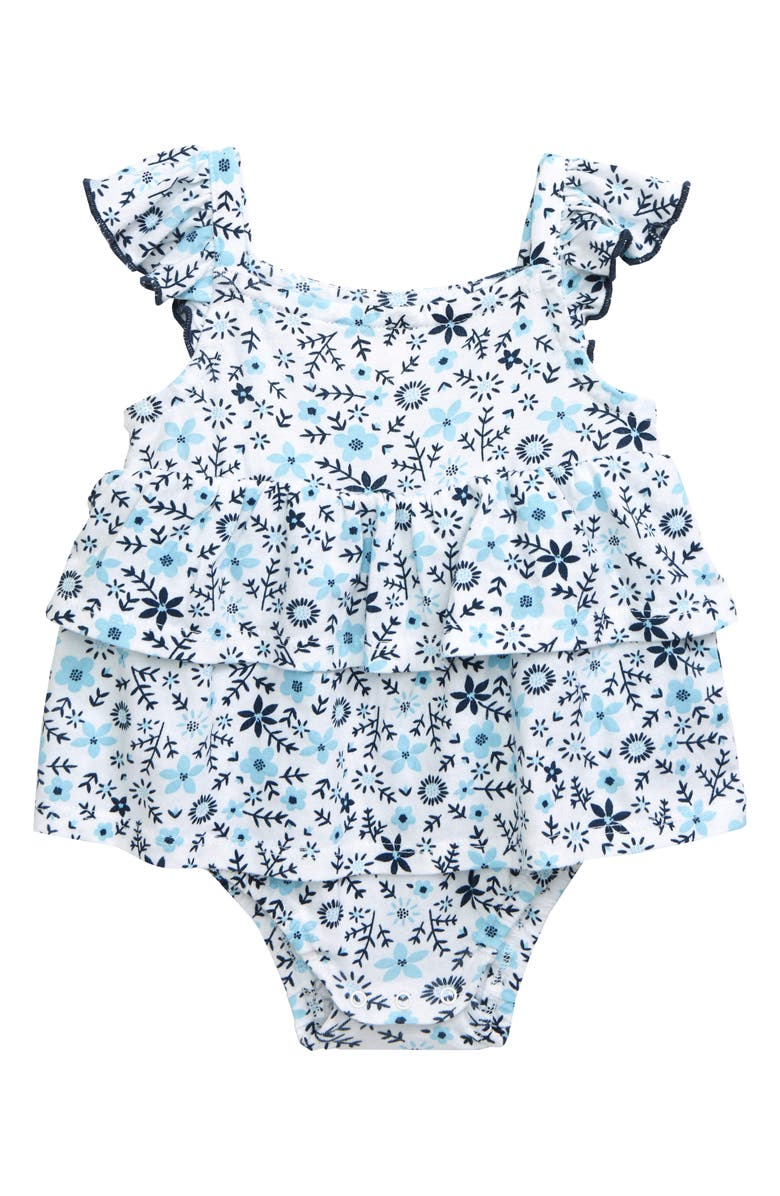 TUCKER + TATE Floral Ruffle Romper, Main, color, WHITE- BLUE FOLKY FLORAL