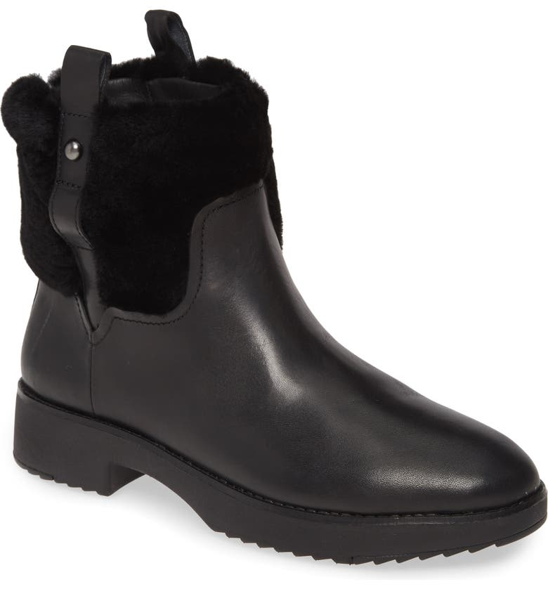 FITFLOP Mimie Genuine Shearling Trim Bootie, Main, color, 001