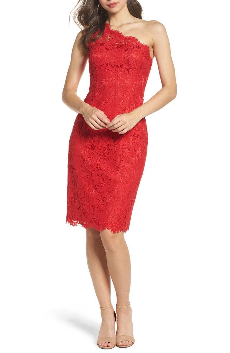 ELIZA J One-Shoulder Lace Dress, Main, color, 610
