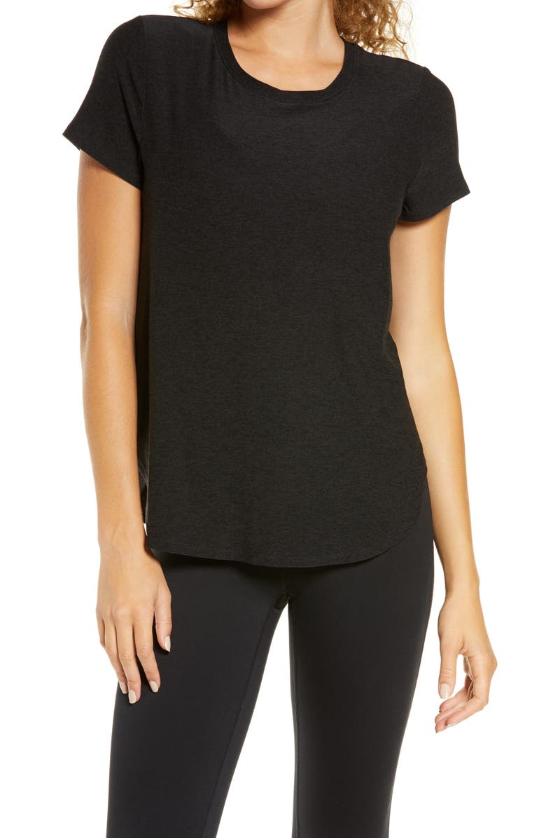 BEYOND YOGA On the Down Low T-Shirt, Main, color, DARKEST NIGHT