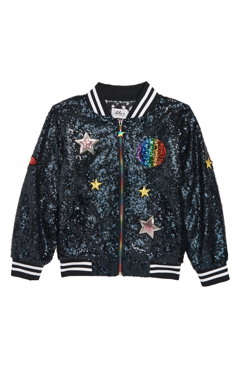 LOLA & THE BOYS Rainbow Emoji Sequin Bomber Jacket, Main, color, 410