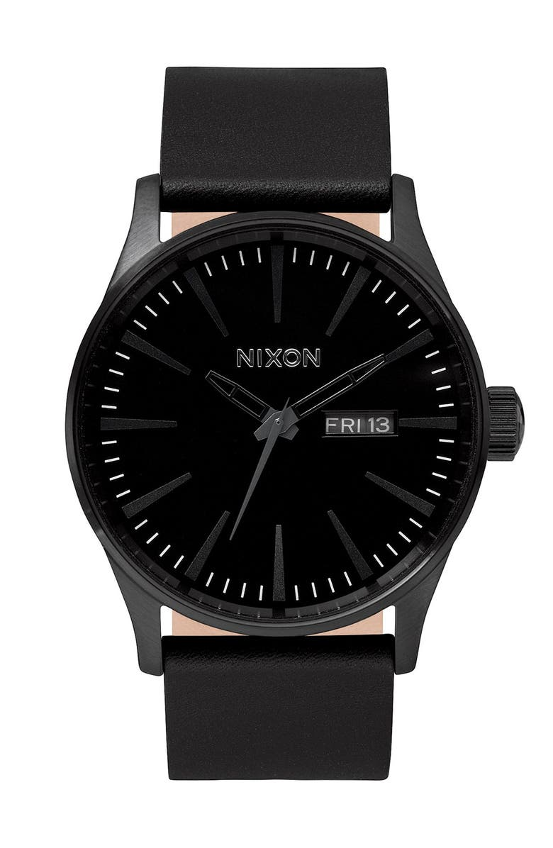 NIXON The Sentry Leather Strap Watch, 42mm, Main, color, ALL BLACK