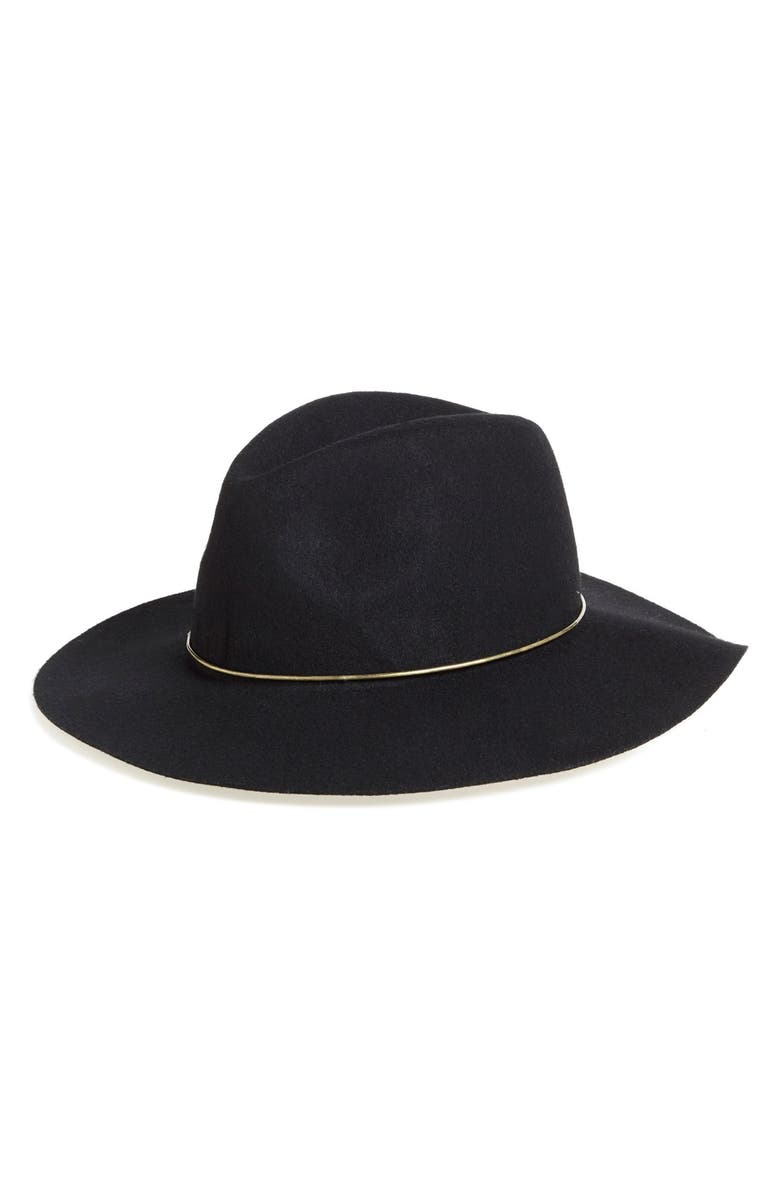 BP. Metal Band Wide Brim Felted Wool Fedora, Main, color, 001
