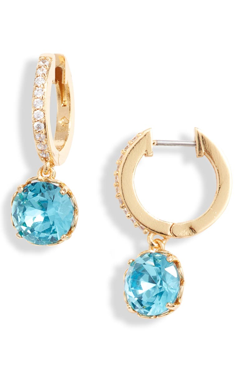 KATE SPADE NEW YORK that sparkle pavé huggie hoop earrings, Main, color, AQUAMARINE