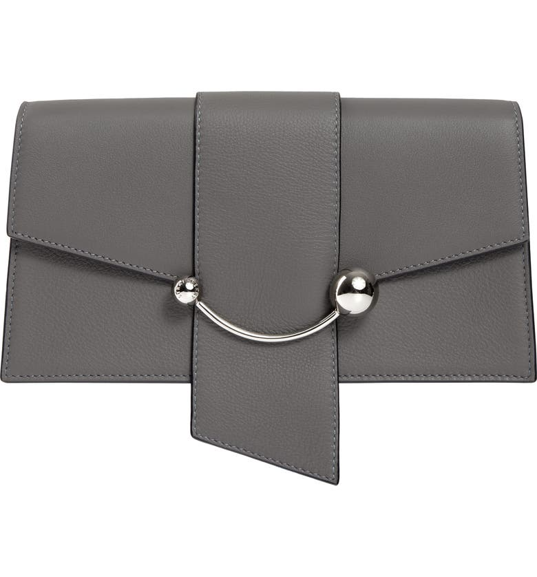 STRATHBERRY Mini Crescent Leather Clutch, Main, color, 020