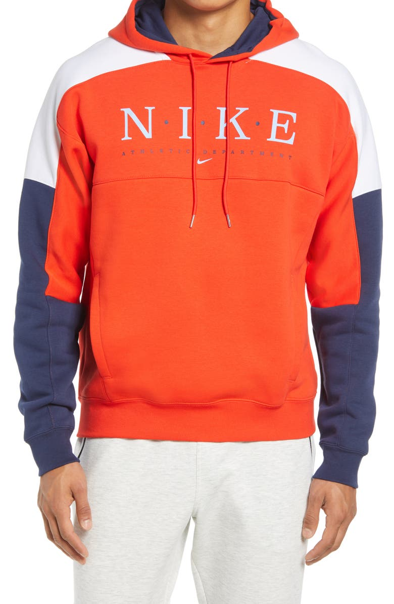 NIKE Sportswear Men's Club Colorblock Hoodie, Main, color, CHILE RED/ MDNGHT NV/ WHT