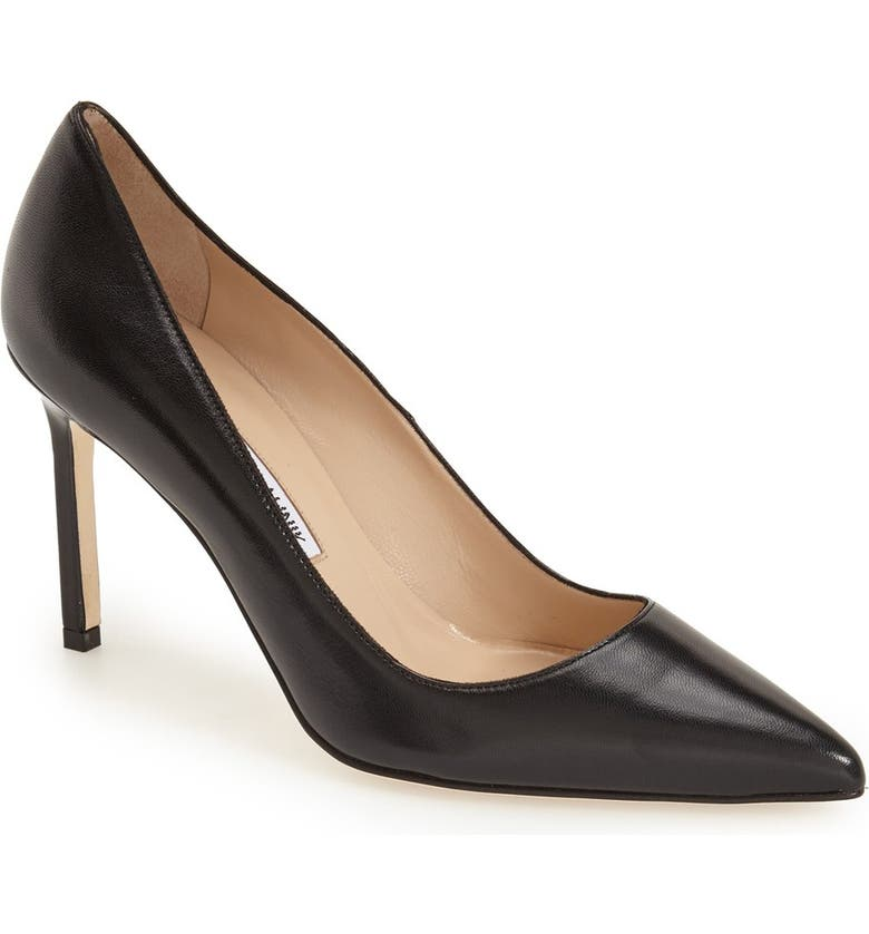 MANOLO BLAHNIK BB Pointed Toe Pump, Main, color, BLACK LEATHER