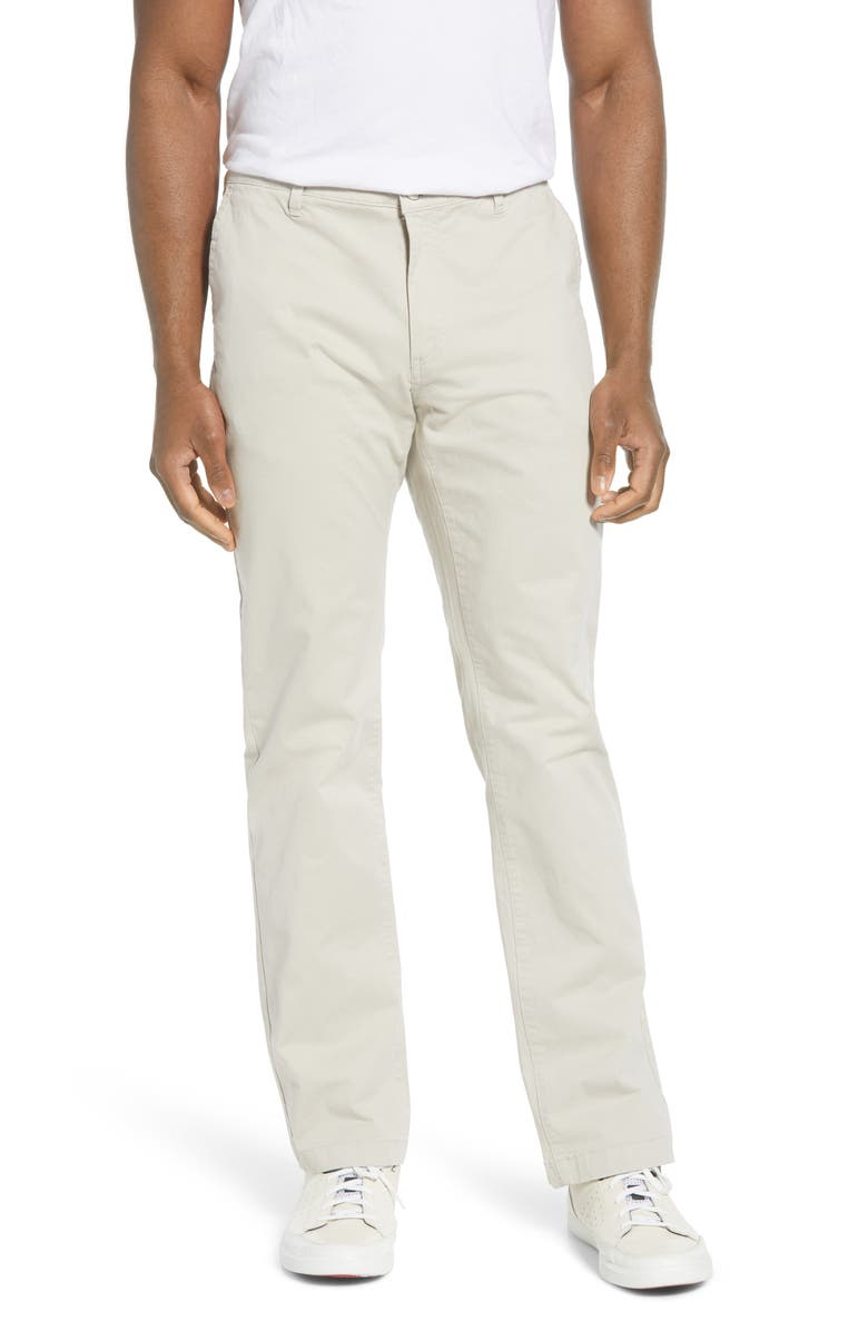 CUTTER & BUCK Voyager Classic Fit Stretch Cotton Chinos, Main, color, NICKEL