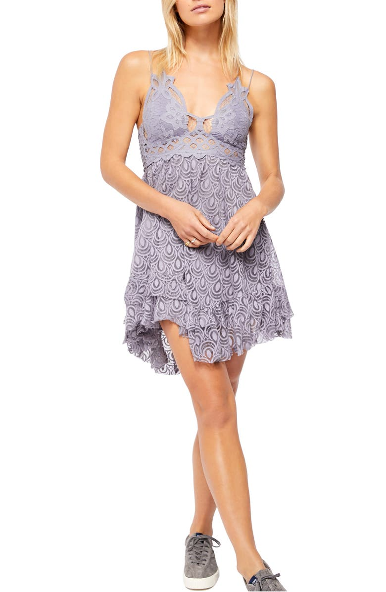 FREE PEOPLE Adella Lace & Burnout Velvet Slipdress, Main, color, 020