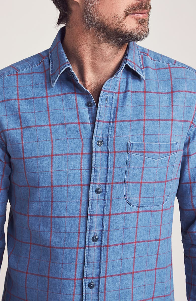 FAHERTY BRAND Slim Fit Check Button-Up Shirt, Main, color, WASHED RED WINDOWPANE