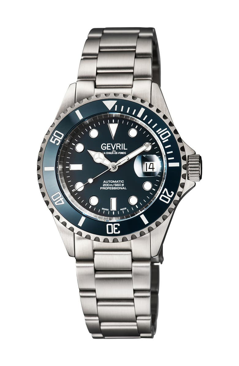 GEVRIL Men's Wall Street Swiss Automatic Diver Bracelet Watch, 43mm, Main, color, SILVER