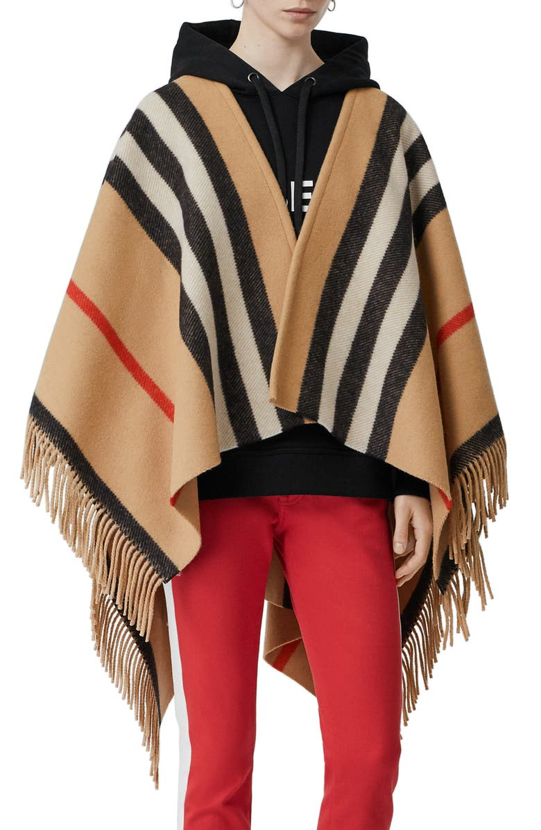BURBERRY Stripe Fringe Wool Cape, Main, color, 250