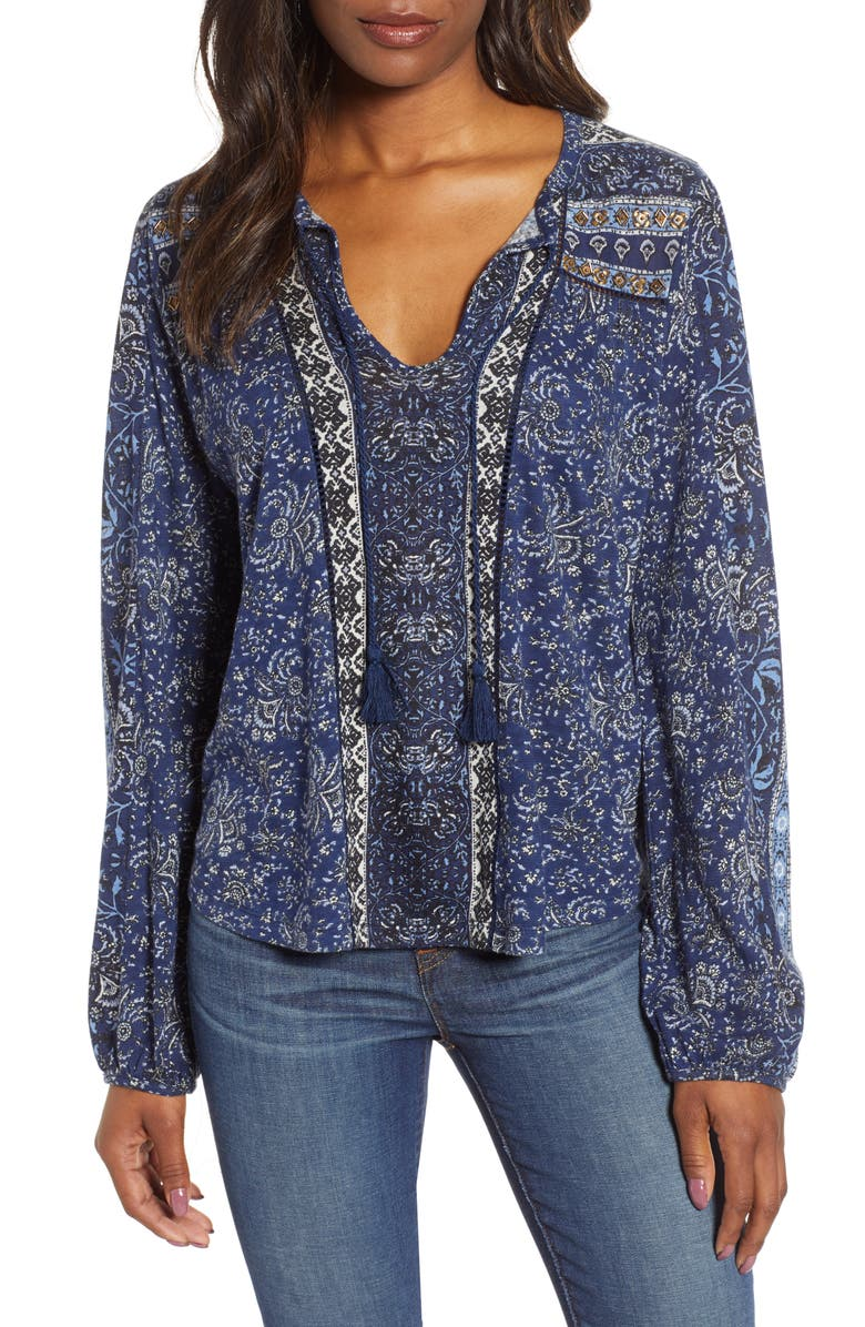 LUCKY BRAND Beaded Mixed Print Top, Main, color, BLUE MULTI