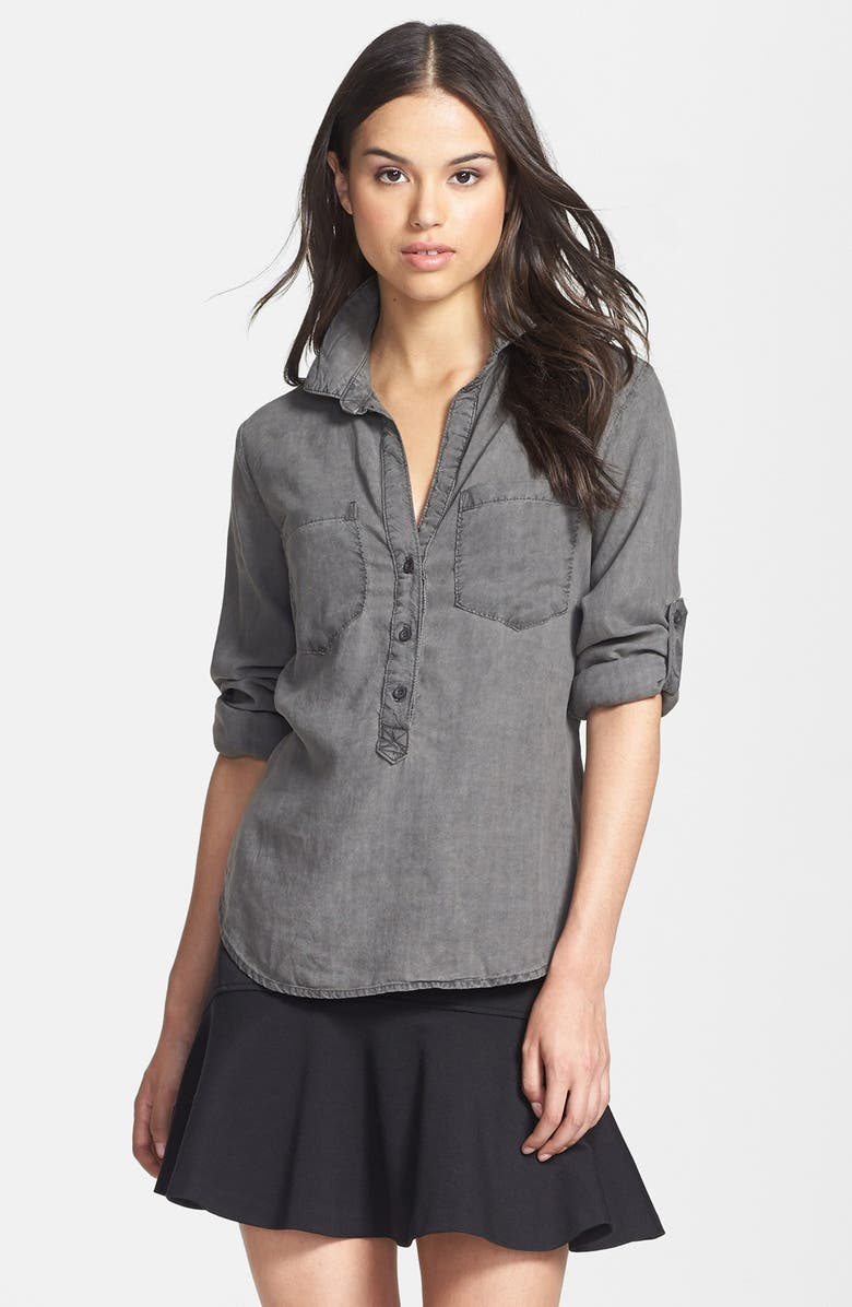 SIDE STITCH Roll Tab Sleeve Tencel<sup>®</sup> Pullover Shirt, Main, color, 022