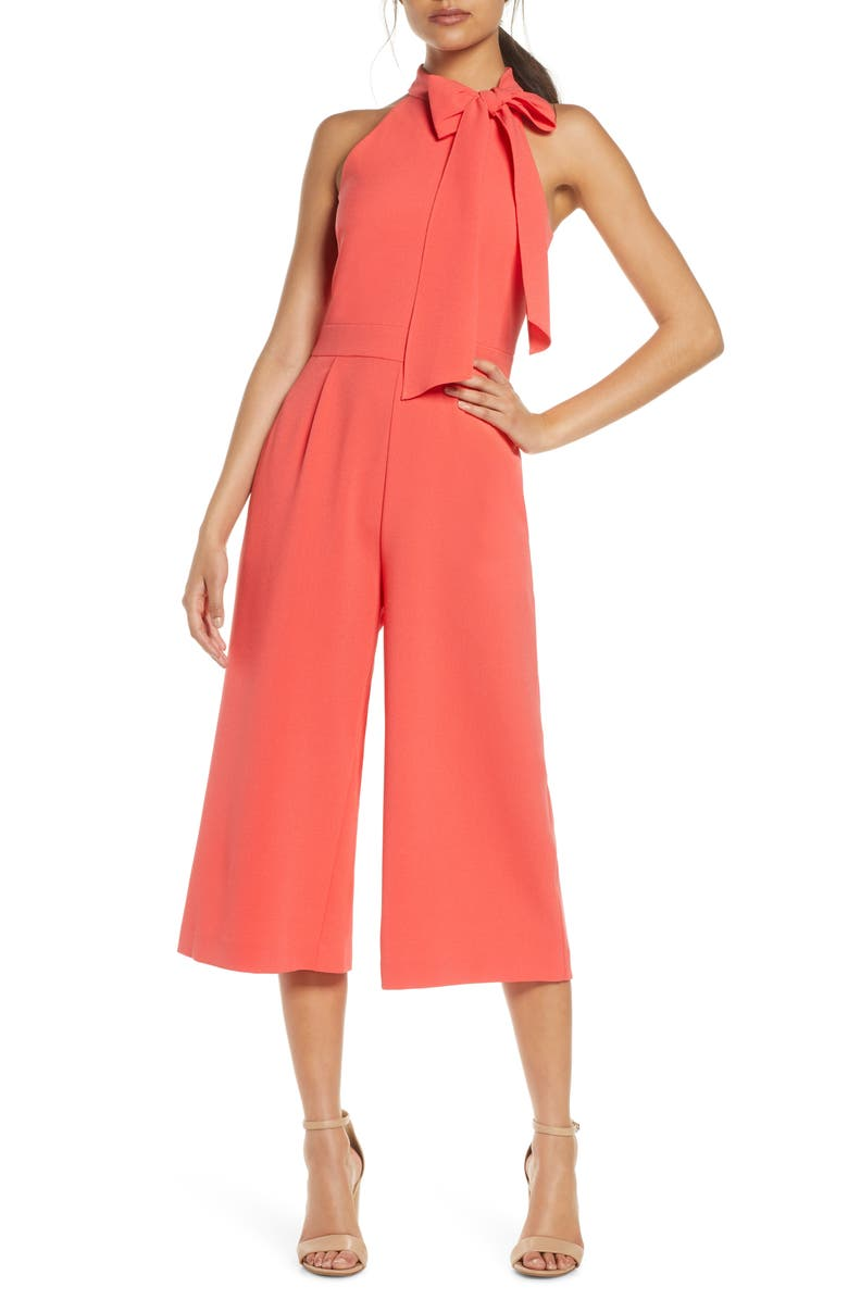 VINCE CAMUTO Bow Neck Sleeveless Wide Leg Crepe Jumpsuit, Main, color, CORAL