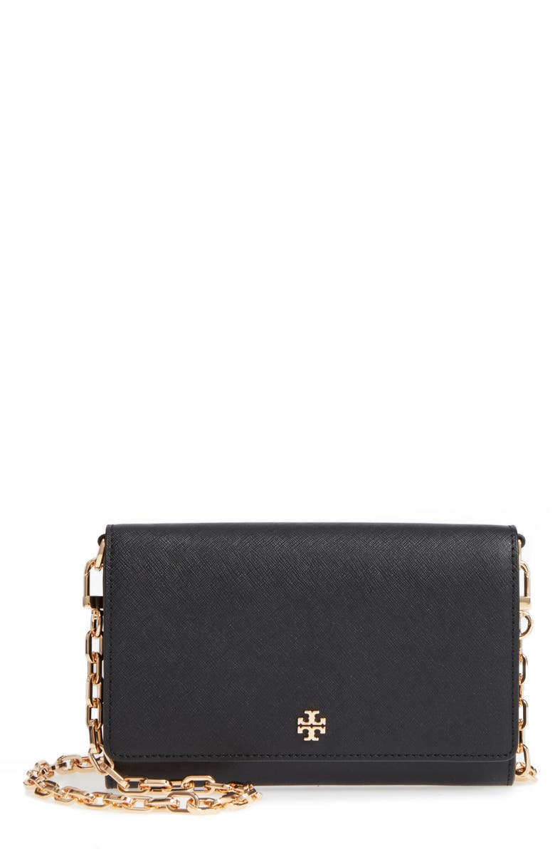 TORY BURCH 'Robinson' Leather Wallet on a Chain, Main, color, BLACK