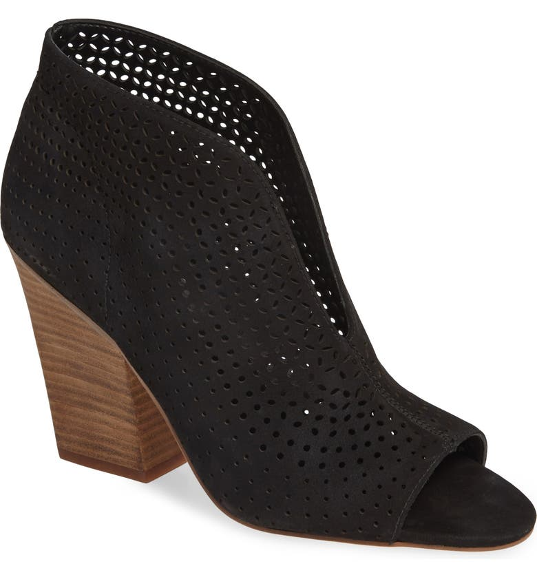 VINCE CAMUTO Kainan Open Toe Bootie, Main, color, BLACK LEATHER