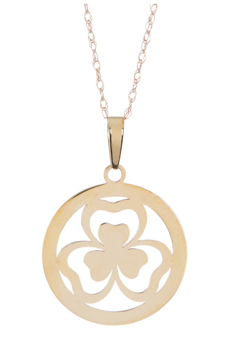 CANDELA JEWELRY 10K Gold Clover Pendant Necklace, Main, color, GOLD