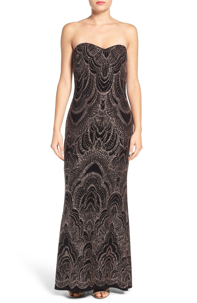 JUMP APPAREL Glitter Print Strapless Gown, Main, color, BLACK/ GOLD