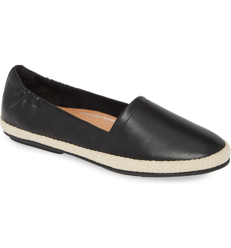 FITFLOP Siren Espadrille Flat, Main, color, ALL BLACK LEATHER