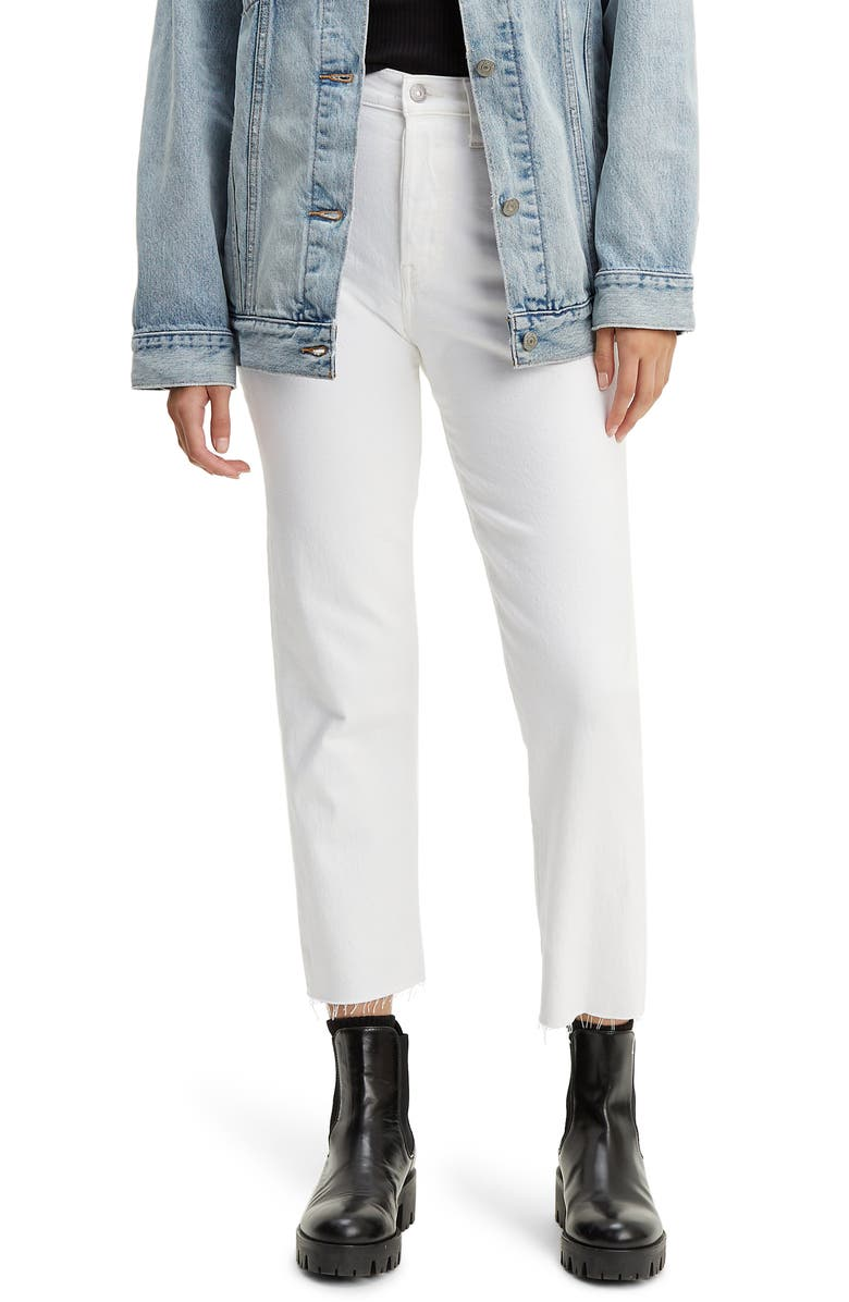 LEVI'S<SUP>®</SUP> Wedgie High Waist Frayed Crop Straight Leg Jeans, Main, color, 100