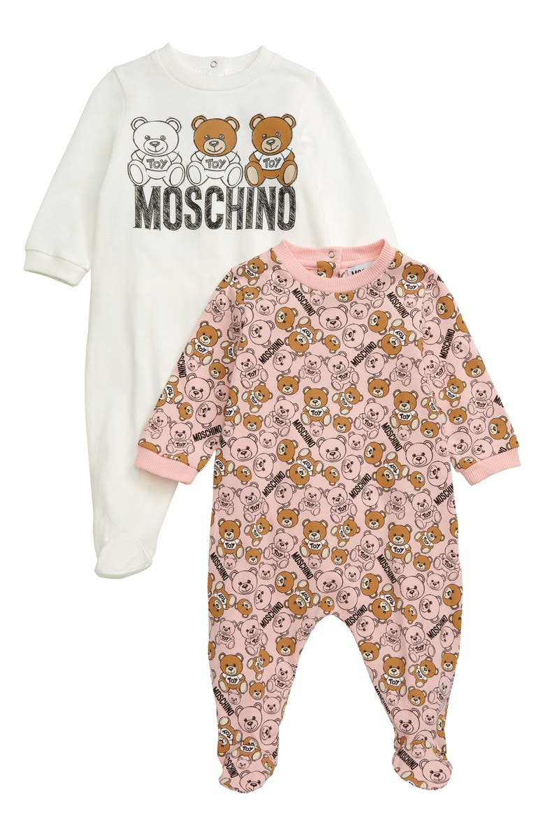 MOSCHINO 2-Pack Bear Footies, Main, color, 680