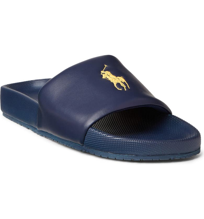 POLO RALPH LAUREN Cayson Slide, Main, color, NEWPORT NAVY/ GOLD