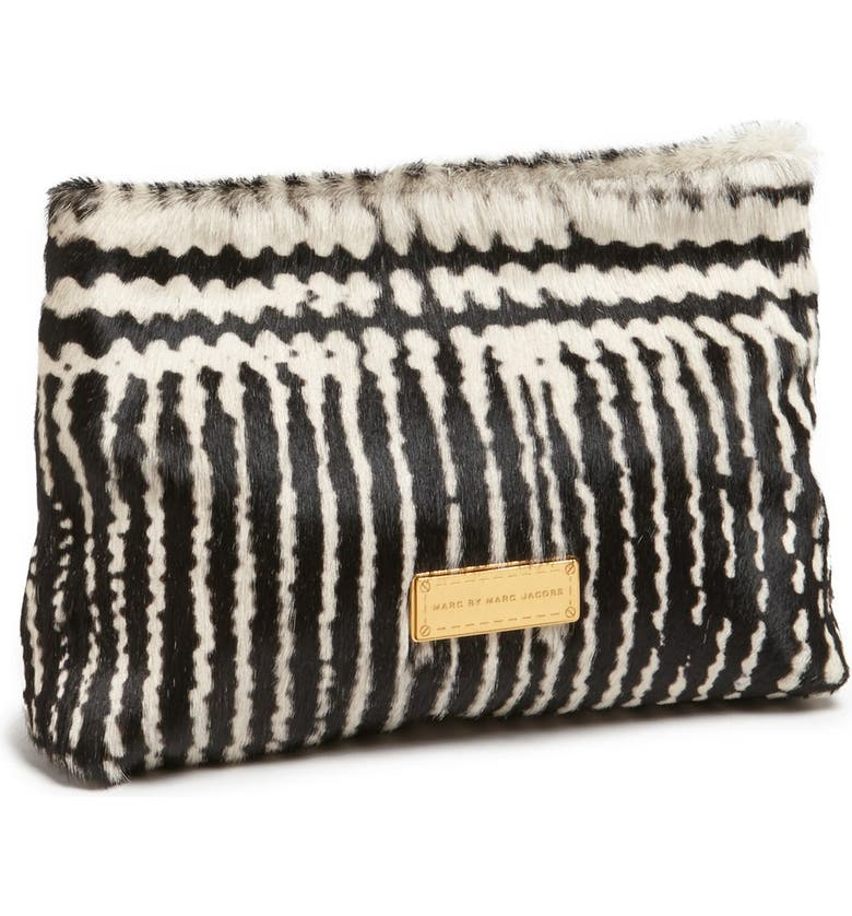 MARC JACOBS MARC BY MARC JACOBS 'Can't Clutch This' Calf Hair Clutch, Main, color, BLACK MULTI