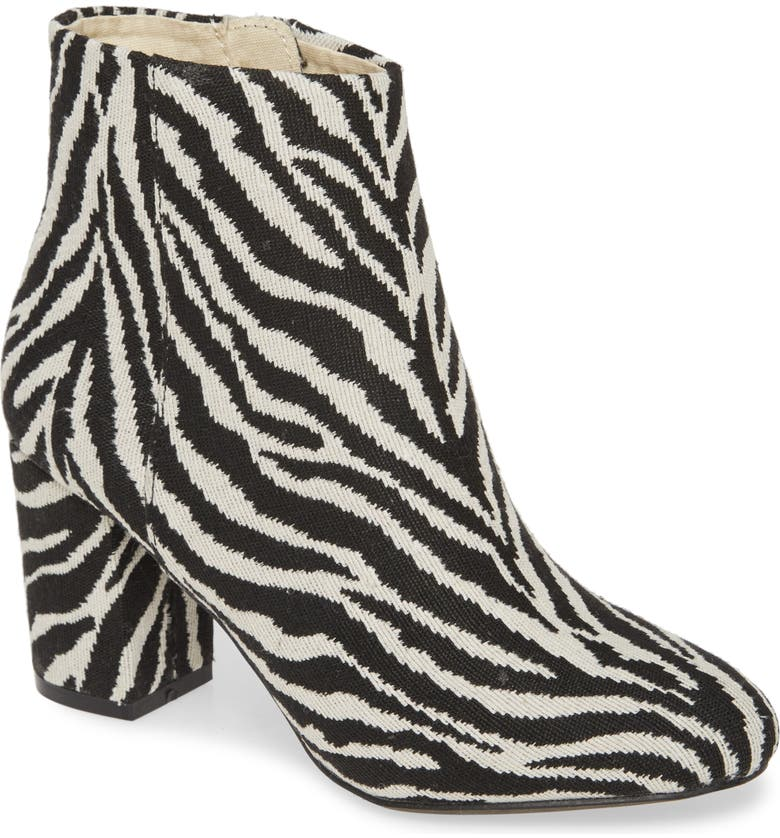 BAND OF GYPSIES Andrea Bootie, Main, color, BLACK ZEBRA PRINT CANVAS