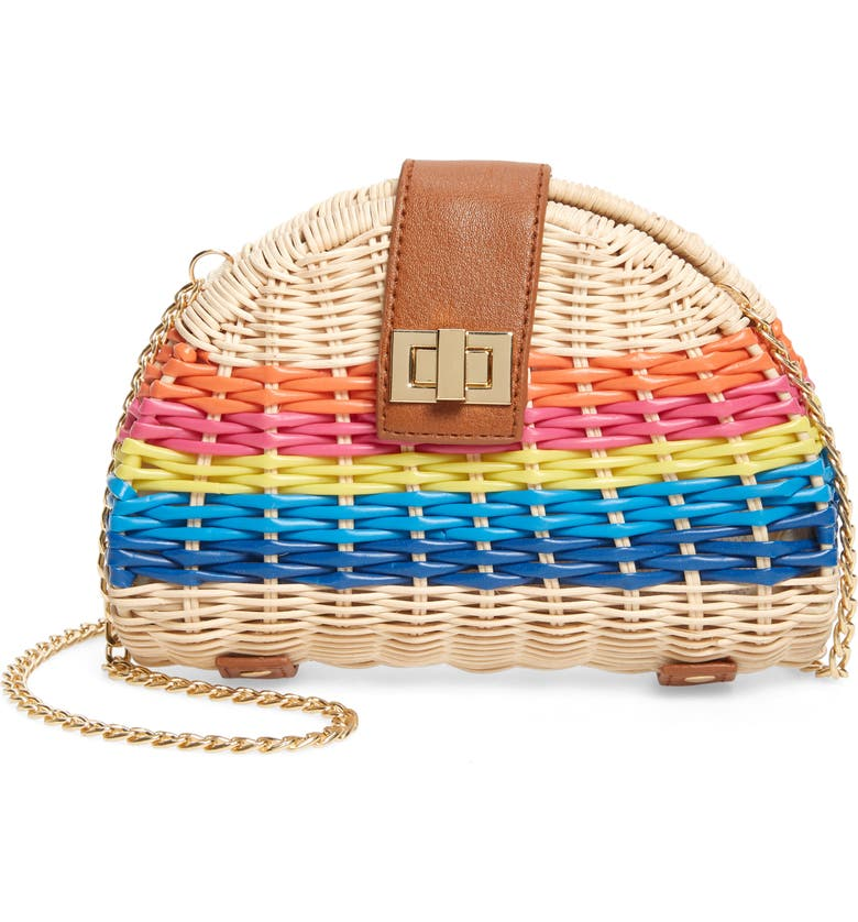 BP. Rainbow Stripe Straw Crossbody Bag, Main, color, 420