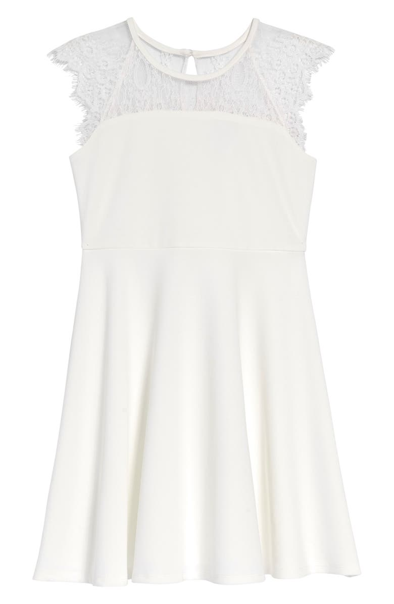 BLUSH BY US ANGELS Lace Cap Sleeve Skater Dress, Main, color, WHITE