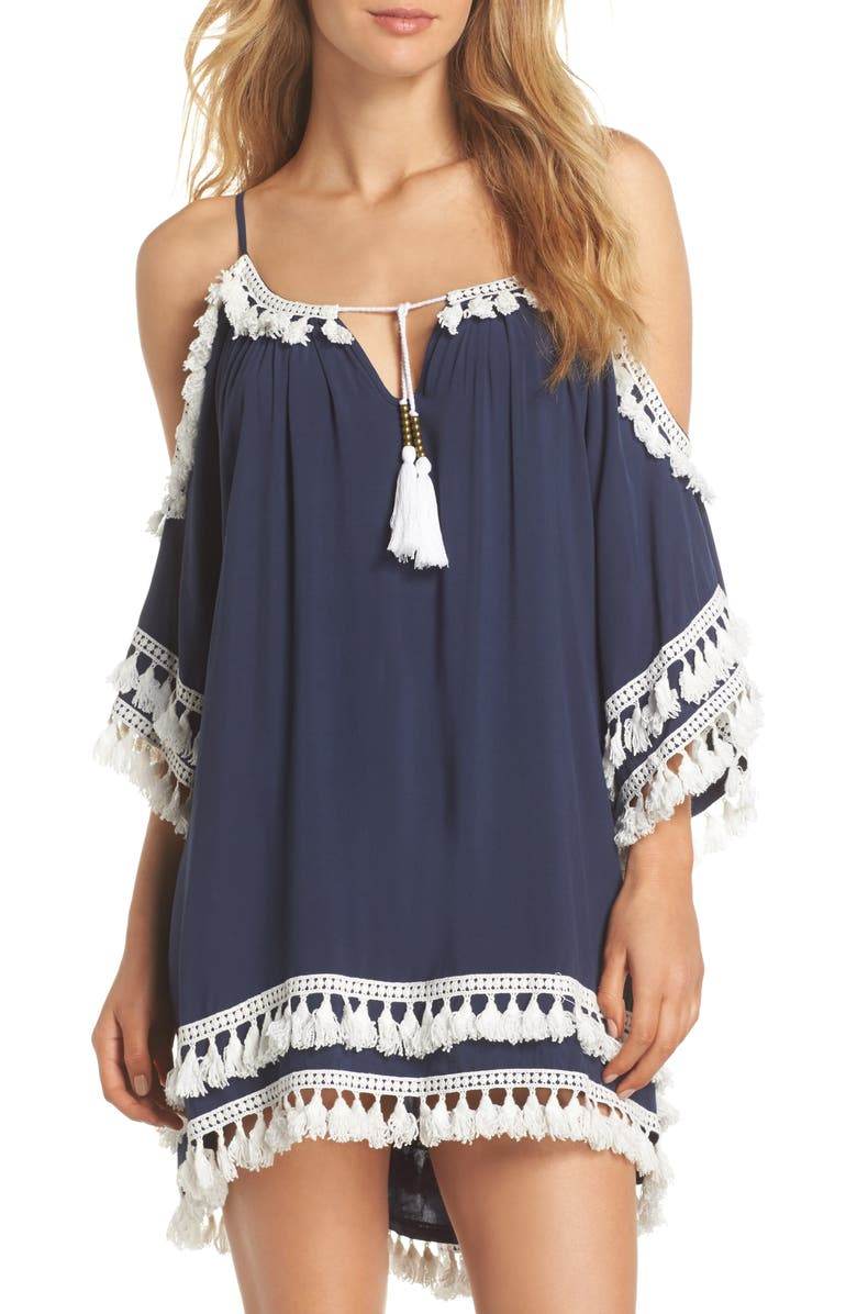 SURF GYPSY Tassled Cold Shoulder Cover-Up Tunic, Main, color, 400