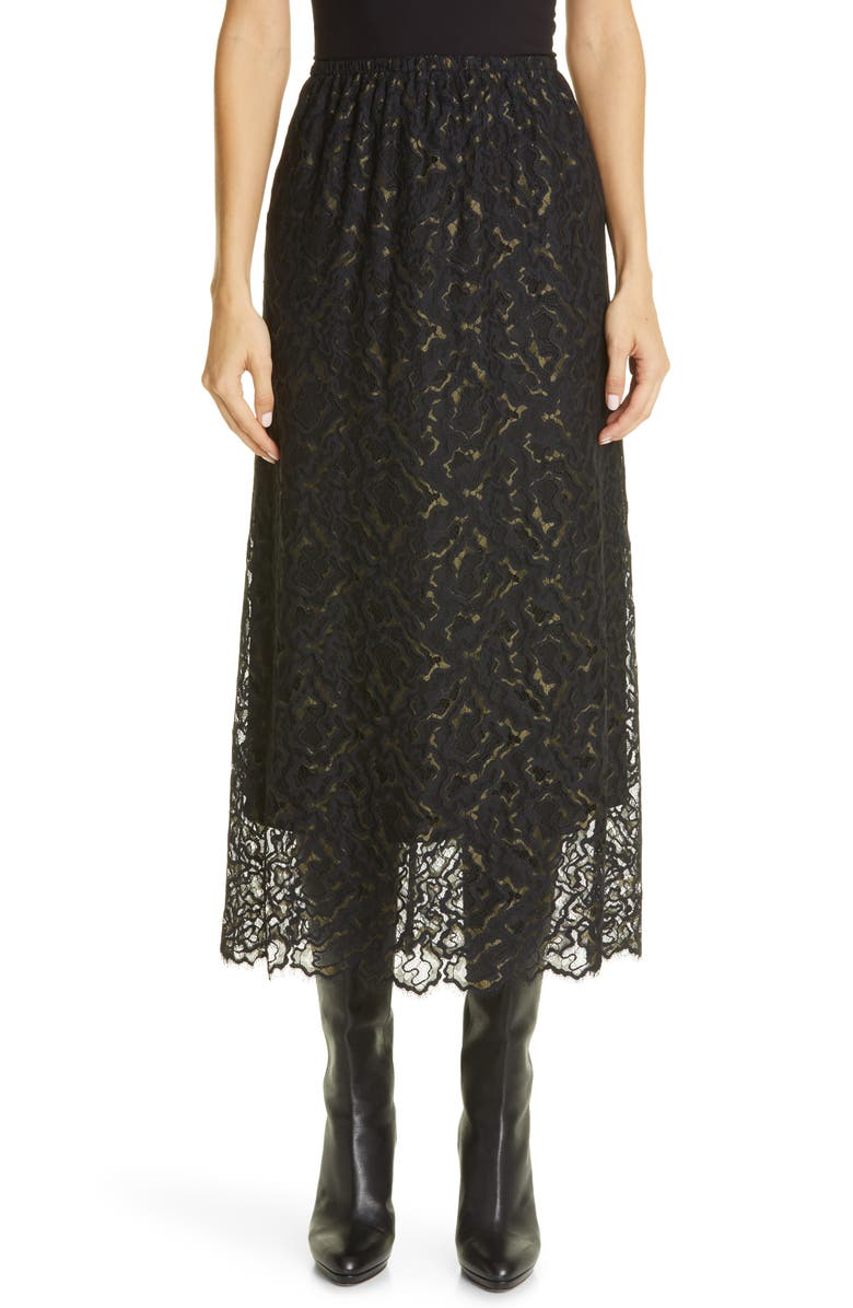 BEAUFILLE Mori Eyelash Lace Midi Skirt, Main, color, JUNIPER/ BLACK