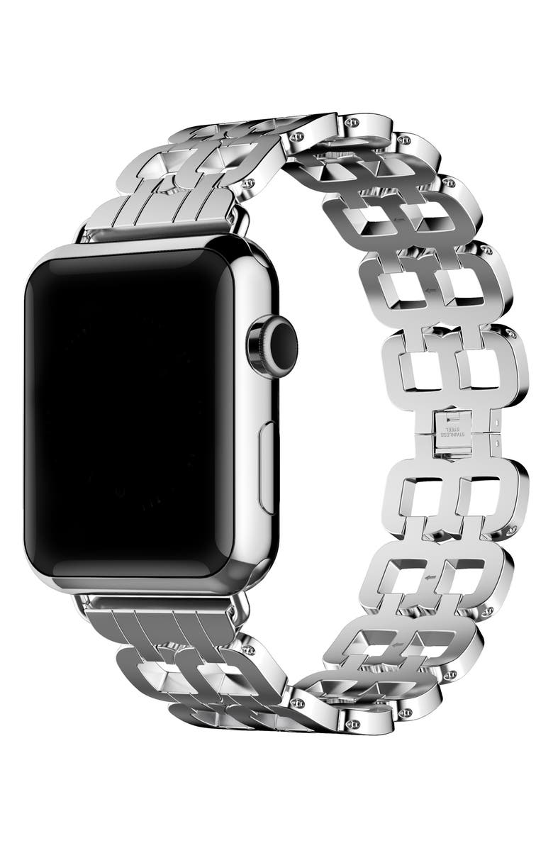 THE POSH TECH Stainless Steel Apple Watch<sup>®</sup> Bracelet, Main, color, SILVER
