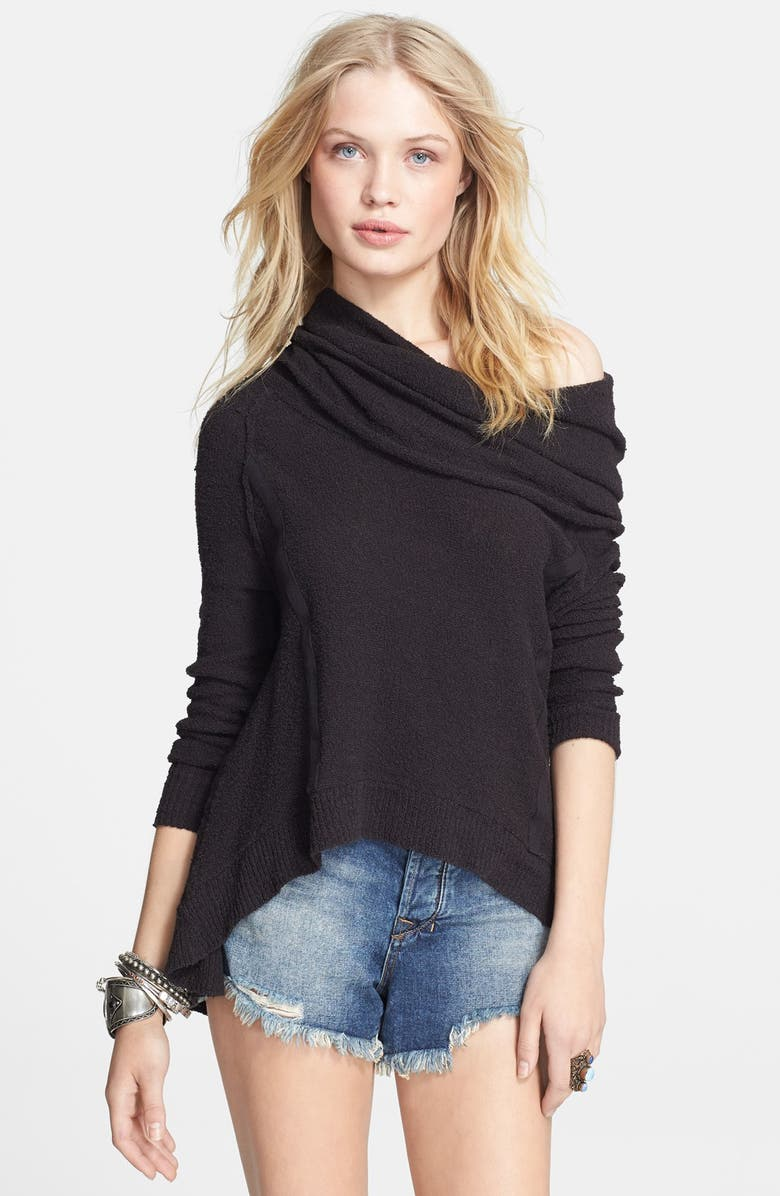 FREE PEOPLE 'Pebble' Cowl Neck Sweater, Main, color, WASHED BLACK
