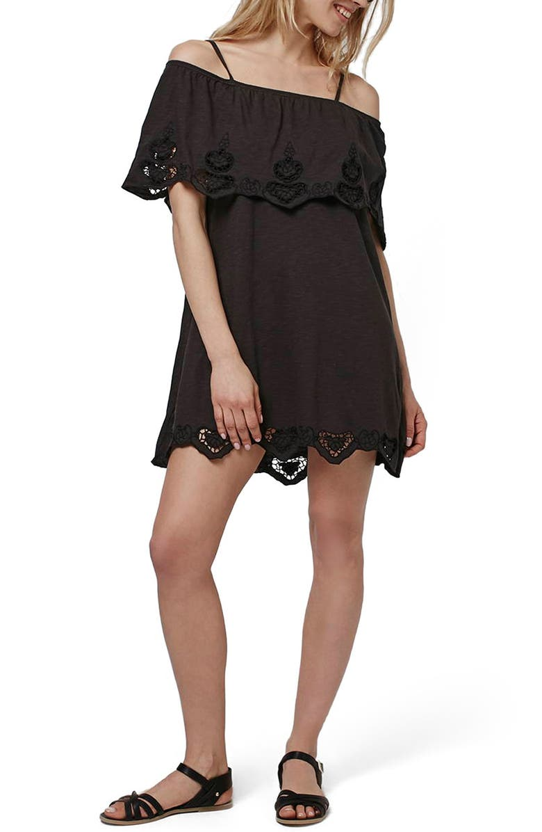TOPSHOP Cutwork Trim Strappy Sundress, Main, color, 001