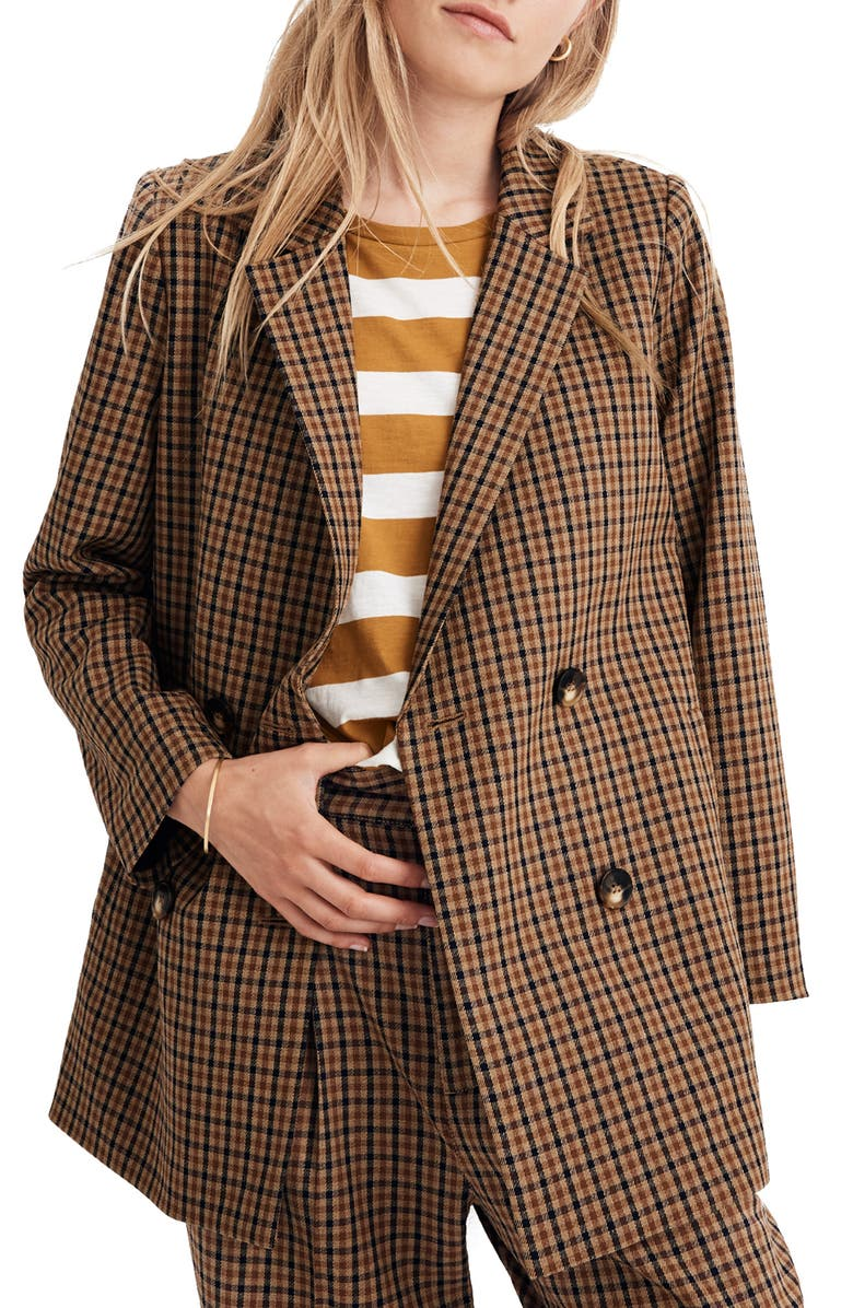 MADEWELL Caldwell Plaid Double-Breasted Blazer, Main, color, DESERT