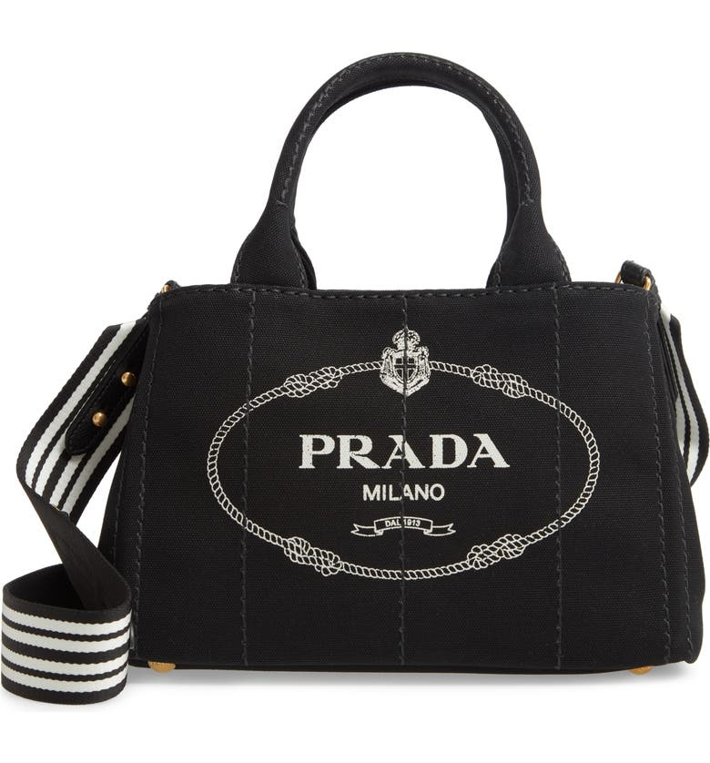 PRADA Canapa Logo Garde Canvas Tote, Main, color, 018