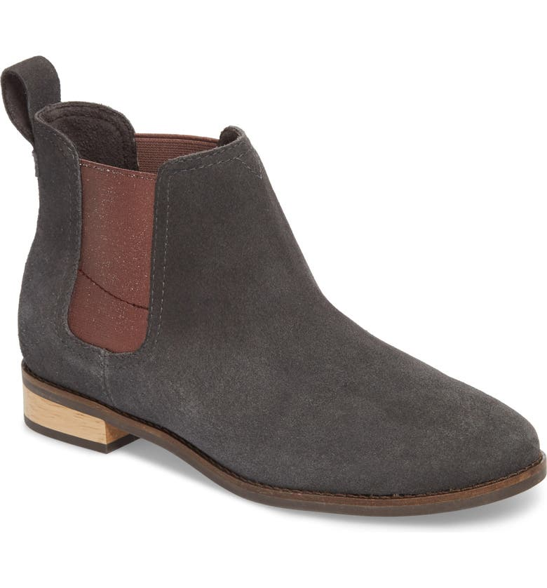 TOMS Ella Chelsea Boot, Main, color, FORGED IRON SUEDE