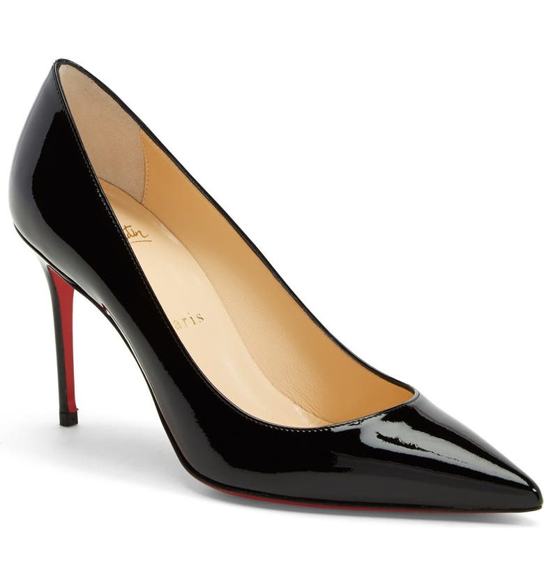 CHRISTIAN LOUBOUTIN Kate Pointed Toe Patent Leather Pump, Main, color, Black