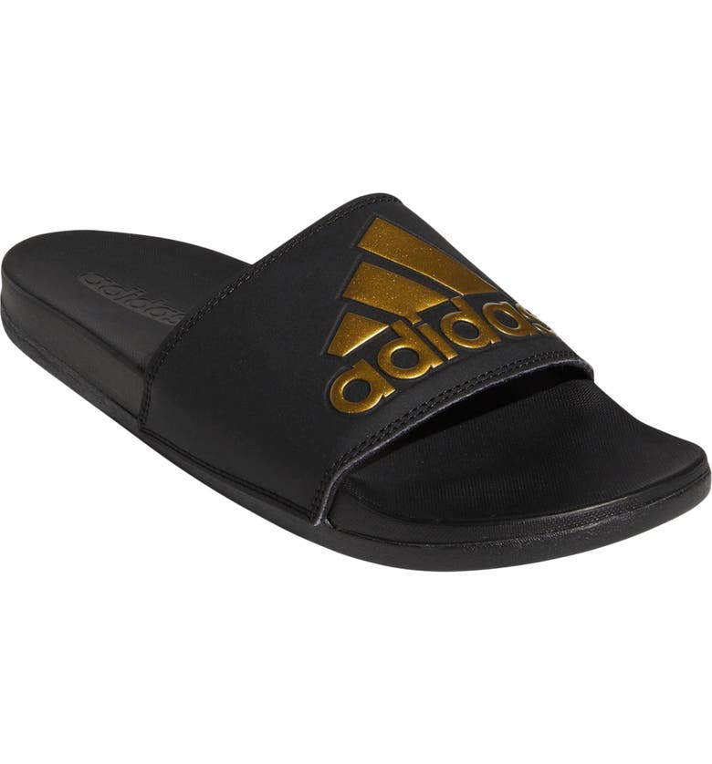 ADIDAS Adilette Comfort Sport Slide, Main, color, BLACK/ GOLD