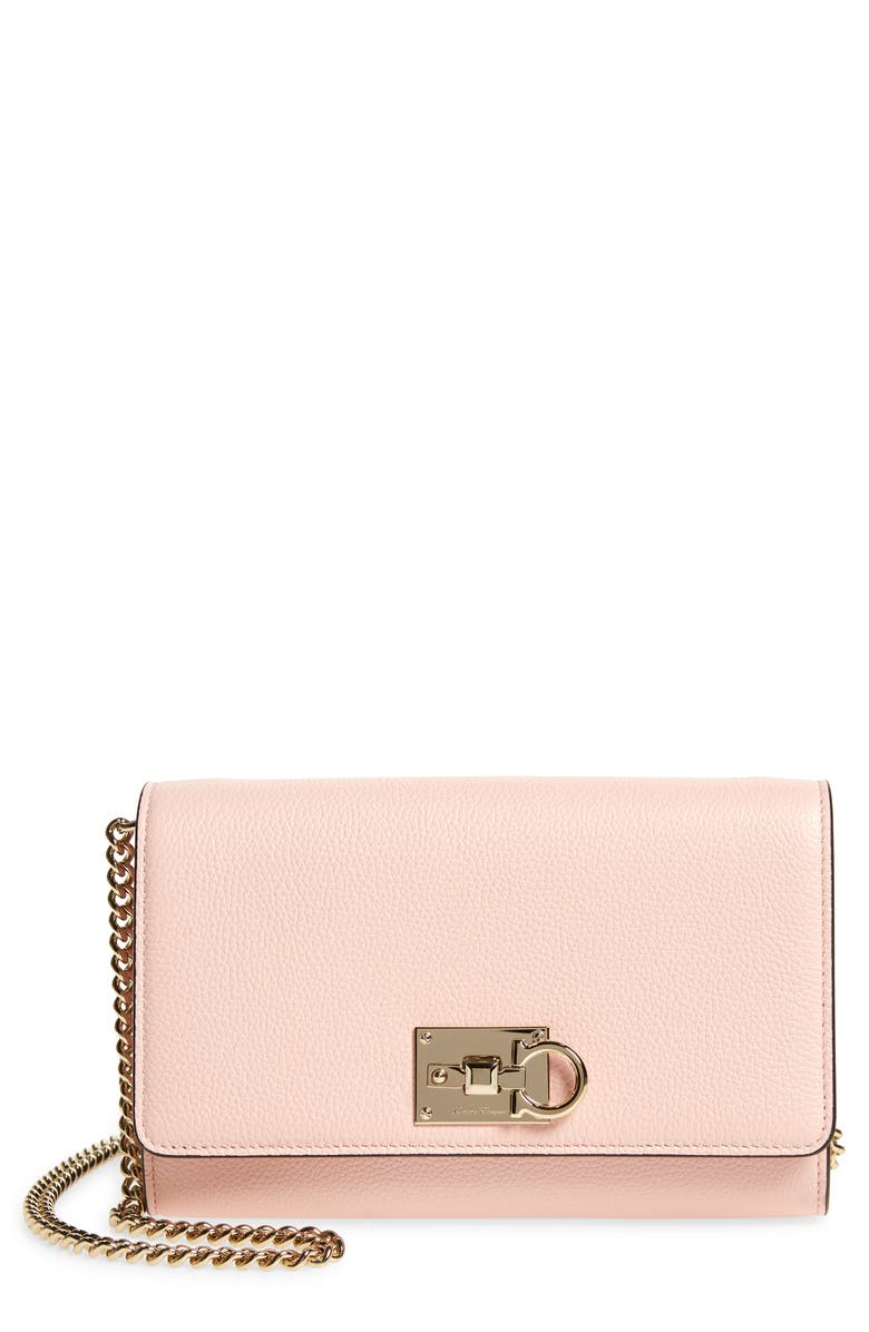 SALVATORE FERRAGAMO The Studio Grainy Leather Wallet on a Chain, Main, color, NYLUND PINK