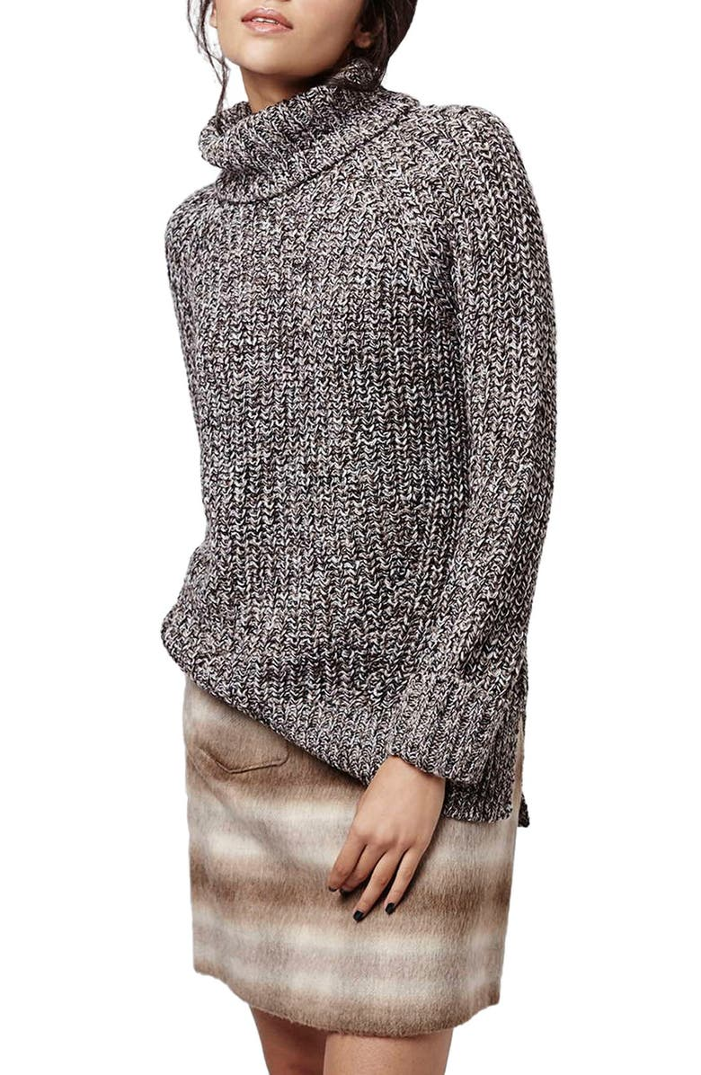 TOPSHOP Rolled Turtleneck Sweater, Main, color, 020