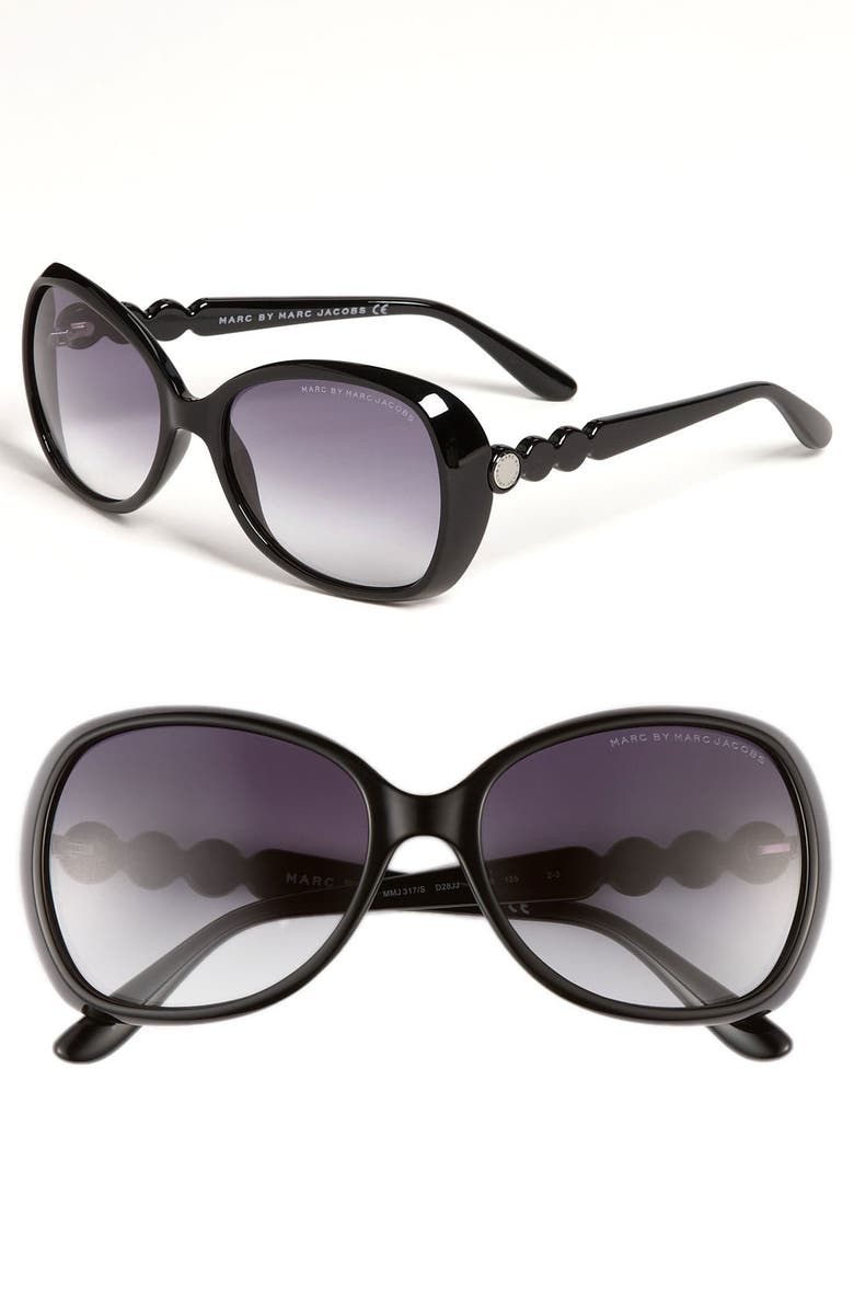 MARC BY MARC JACOBS 56mm Oversized Sunglasses, Main, color, 001